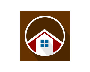 circle brown house home housing residence residential real estate image vector icon logo symbol
