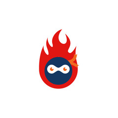 Ninja Fire Logo Icon Design