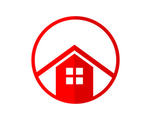 red circle house home housing residence residential real estate image vector icon logo symbol