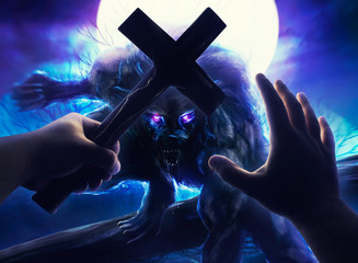 Illustration of a first person male hands frotectiong with cross from attacking angry werewolf monster.