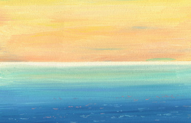 Smooth oil painting texture and colors of calm sea and sky with distant horizon. View from a high coast. Palette in deep blue and orange tones. Long brushstrokes.