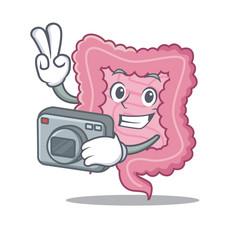 Photographer intestine mascot cartoon style