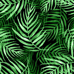 Keuken foto achterwand Tropische Bladeren Seamless watercolor pattern, background. Palm leaf background, postcard. Green tropical palm leaf. Illustration for design wedding invitations, greeting cards, postcards. On a black background