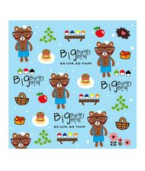 big burger bear pattern doodle vector