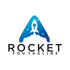 triangle rocket launch logo with triangle and rocket launch combination