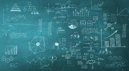 blackboard with business formulas