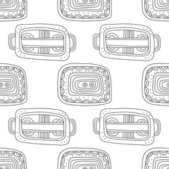 Black and white illustration for coloring book, page. Abstract decorative seamless pattern.