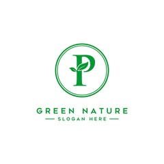 letter P logo concept, nature green leaf symbol, initials  icon design