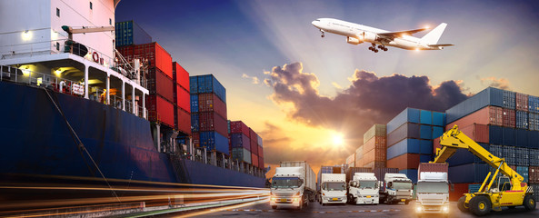 Logistics and transportation Cargo ship concept, Cargo plane and truck bridge in shipyard at sunset, logistic import export and industry background