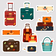Travel bags stickers and patches collection vector illustration. Set business voyage packing, handle trip baggage. Summer time. Handbag and luggage for adventure.