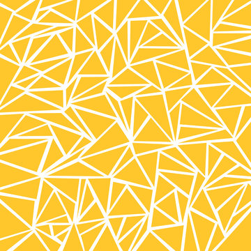 Abstract yellow mustard, white geometric and triangle patterns for background texture.