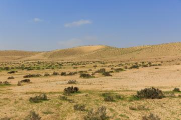 Far hills in desert under sky
