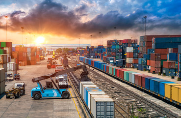 Business Logistics and transportation concept, of Container Cargo train and truck for Logistic import export and transport industry background