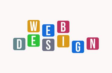 WEB DESIGN Colorful Vector Letter Alphabet Illustration Square Layout