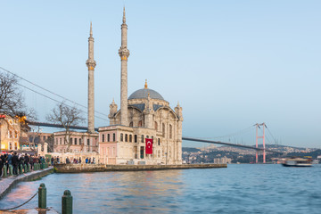 Exterior view of Ortakoy Mosque with15 July Martyrs Bridge