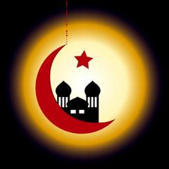 Halbmond mit Moschee vor leuchtenden Hintergrund. Eps 10 Vector-Datei