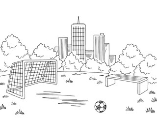 Street sport football soccer graphic black white city landscape sketch illustration vector
