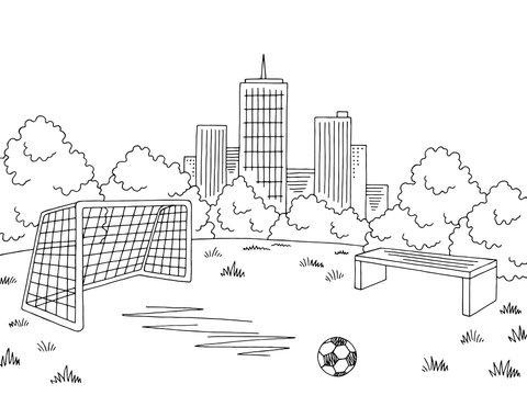 Street sport football soccer graphic black white city landscape sketch illustration vector