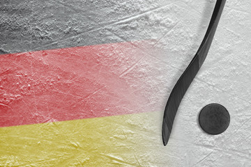 Image of German flag and hockey stick with puck