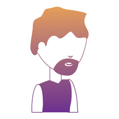 avatar man with beard icon over white background colorful design. vector illustration