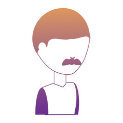 avatar man with mustache icon over white background blue shading design. vector illustration