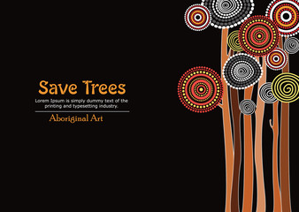 Aboriginal tree, Aboriginal art vector painting with tree, Save tree banner background.