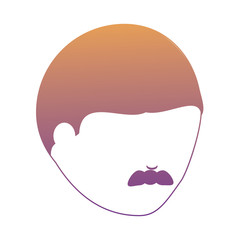 avatar man face with mustache over white background, vector illustration