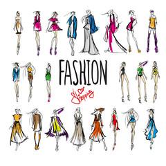 Fashion shopping woman. Set of fashion girl. Vector.