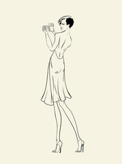 Illustration of fashion girl in evening dress with photo camera