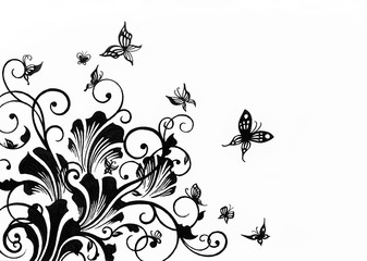 hand drawn floral design element for borders isolated on white background, artwork is sketched in black ink, swirls curls butterflies and abstract leaf design clipart