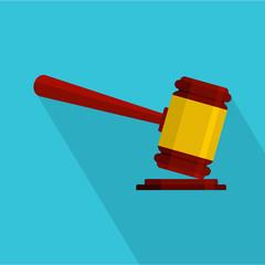 Judge gavel icon. Flat illustration of judge gavel vector icon for web