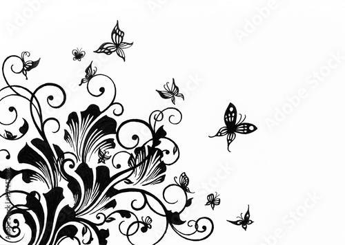 Hand Drawn Floral Design Element For Borders Isolated On White