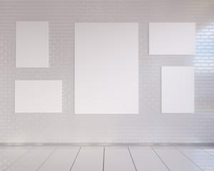 mock up poster with vintage pastel hipster minimalism loft interior background, 3D rendering