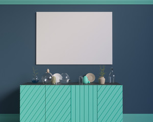 Poster over the cupboard with utensils, minimalism, interior, background, 3D rendering