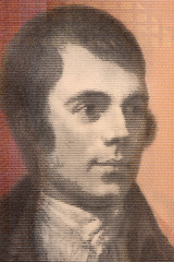 Robert Burns portrait from Scottish money