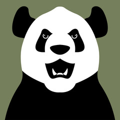 panda bear head face vector illustration flat
