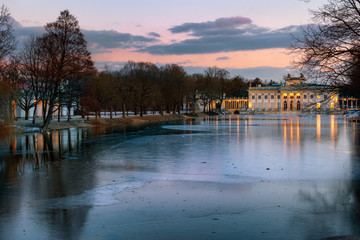 Łazienki Park in Winter - a March sunset in a wintry park with a palace