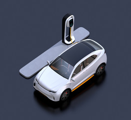 Isometric view of white electric SUV car charging in charging station. 3D rendering image.