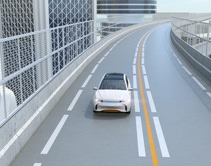 Front view of white electric SUV driving on the highway. 3D rendering image.
