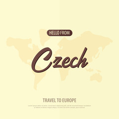 Hello from Czech Republic. Travel to Europe. Touristic greeting card. Vector illustration
