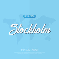 Hello from Stockholm. Travel to Sweden. Touristic greeting card. Vector illustration