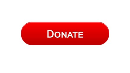 Donate web interface button red color, social support, fundraising online