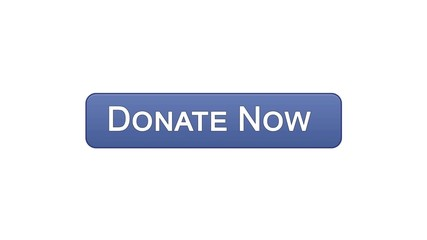 Donate now web interface button violet color, social support, volunteering