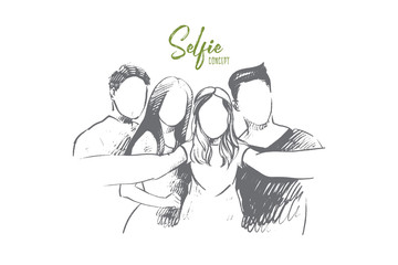 Selfie concept. Hand drawn group of people taking selfie. Friends taking selfie and laughing isolated vector illustration.