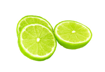 Lime with half isolated on white, lemon sliced