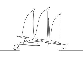 one line drawing of sailboat yacht