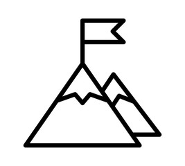 Mountain peak top with flag or goal with high ambitions line art vector icon for apps and websites