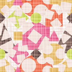 Abstract print fabric geometric shapes. Vector illustration. Rhombus, square, triangle and circle design.
