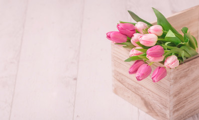 Tulips in the wooden box