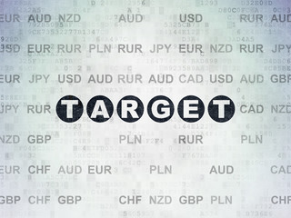 Business concept: Painted black text Target on Digital Data Paper background with Currency